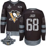 Wholesale Cheap Adidas Penguins #68 Jaromir Jagr Black 1917-2017 100th Anniversary Stanley Cup Finals Champions Stitched NHL Jersey