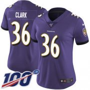 Wholesale Cheap Nike Ravens #36 Chuck Clark Purple Team Color Women's Stitched NFL 100th Season Vapor Untouchable Limited Jersey