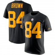 Wholesale Cheap Nike Pittsburgh Steelers #84 Antonio Brown Color Rush 2.0 Name & Number T-Shirt Black