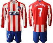 Wholesale Atletico Madrid #7 Griezmann Home Long Sleeves Soccer Club Jersey
