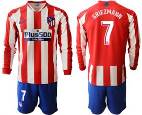 Wholesale Cheap Atletico Madrid #7 Griezmann Home Long Sleeves Soccer Club Jersey