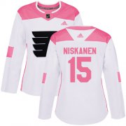Wholesale Cheap Adidas Flyers #15 Matt Niskanen White/Pink Authentic Fashion Women's Stitched NHL Jersey