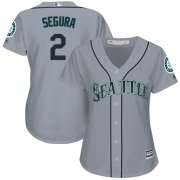 Wholesale Cheap Mariners #2 Jean Segura Grey Road Women's Stitched MLB Jersey