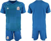 Wholesale Cheap Mexico Blank Blue Goalkeeper Soccer Country Jersey