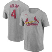 Wholesale Cheap St. Louis Cardinals #4 Yadier Molina Nike Name & Number T-Shirt Gray