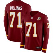 Wholesale Cheap Nike Redskins #71 Trent Williams Burgundy Red Team Color Men's Stitched NFL Limited Therma Long Sleeve Jersey