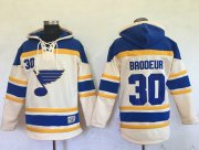 Wholesale Cheap Blues #30 Martin Brodeur Cream Sawyer Hooded Sweatshirt Stitched NHL Jersey