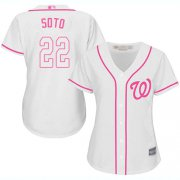 Wholesale Cheap Nationals #22 Juan Soto White/Pink Fashion Women's Stitched MLB Jersey