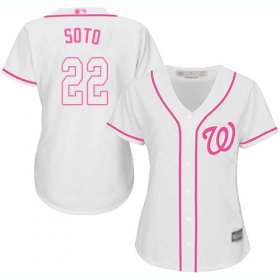 Wholesale Cheap Nationals #22 Juan Soto White/Pink Fashion Women\'s Stitched MLB Jersey