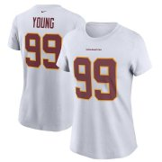 Wholesale Cheap Washington Redskins #99 Chase Young Football Team Nike Women's Player Name & Number T-Shirt White