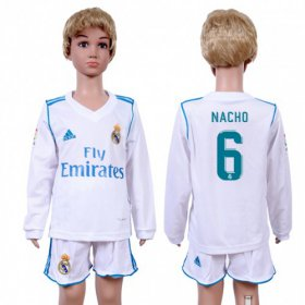 Wholesale Cheap Real Madrid #6 Nacho Home Long Sleeves Kid Soccer Club Jersey