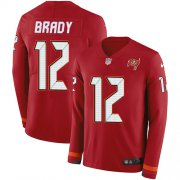 Wholesale Cheap Nike Buccaneers #12 Tom Brady Red Team Color Youth Stitched NFL Limited Therma Long Sleeve Jersey