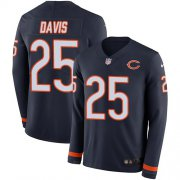 Wholesale Cheap Men's Bears #25 Mike Davis Navy Blue Team Color Men's Stitched NFL Limited Therma Long Sleeve Jersey
