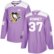 Wholesale Cheap Adidas Penguins #37 Carter Rowney Purple Authentic Fights Cancer Stitched NHL Jersey