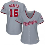 Wholesale Cheap Nationals #16 Victor Robles Grey Road Women's Stitched MLB Jersey