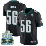 Wholesale Cheap Nike Eagles #56 Chris Long Black Alternate Super Bowl LII Champions Men's Stitched NFL Vapor Untouchable Limited Jersey