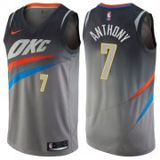 Wholesale Cheap Nike Oklahoma City Thunder #7 Carmelo Anthony Gray NBA Swingman City Edition Jersey
