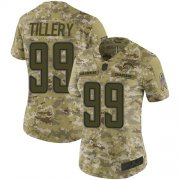 Wholesale Cheap Nike Chargers #99 Jerry Tillery Camo Women's Stitched NFL Limited 2018 Salute to Service Jersey