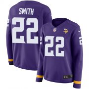 Wholesale Cheap Nike Vikings #22 Harrison Smith Purple Team Color Women's Stitched NFL Limited Therma Long Sleeve Jersey
