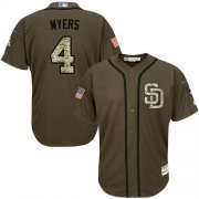 Wholesale Cheap Padres #4 Wil Myers Green Salute to Service Stitched MLB Jersey