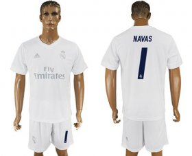 Wholesale Cheap Real Madrid #1 Navas Marine Environmental Protection Home Soccer Club Jersey