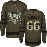 Wholesale Cheap Adidas Penguins #66 Mario Lemieux Green Salute to Service Stitched Youth NHL Jersey