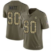 Wholesale Cheap Nike Steelers #90 T. J. Watt Olive/Camo Youth Stitched NFL Limited 2017 Salute to Service Jersey