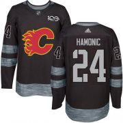 Wholesale Cheap Adidas Flames #24 Travis Hamonic Black 1917-2017 100th Anniversary Stitched NHL Jersey