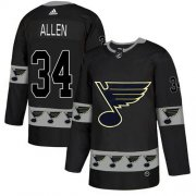 Wholesale Cheap Adidas Blues #34 Jake Allen Black Authentic Team Logo Fashion Stitched NHL Jersey