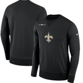 Wholesale Cheap Men\'s New Orleans Saints Nike Black Sideline Team Logo Performance Sweatshirt