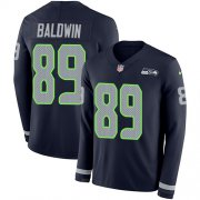 Wholesale Cheap Nike Seahawks #89 Doug Baldwin Steel Blue Team Color Men's Stitched NFL Limited Therma Long Sleeve Jersey