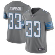Wholesale Cheap Nike Lions #33 Kerryon Johnson Gray Youth Stitched NFL Limited Rush Jersey