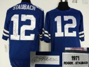 Wholesale Cheap Mitchell And Ness Autographed Cowboys #12 Roger Staubach Blue Throwback Stitched NFL Jersey