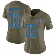 Wholesale Cheap Nike Lions #33 Kerryon Johnson Olive Women's Stitched NFL Limited 2017 Salute to Service Jersey