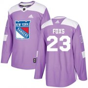 Wholesale Cheap Adidas Rangers #23 Adam Foxs Purple Authentic Fights Cancer Stitched NHL Jersey