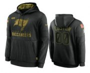 Wholesale Cheap Men's Tampa Bay Buccaneers Custom Black 2020 Salute To Service Sideline Performance Pullover Hoodie