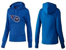 Wholesale Cheap Women\'s Tennessee Titans Logo Pullover Hoodie Blue