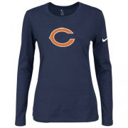 Wholesale Cheap Women's Nike Chicago Bears Of The City Long Sleeve Tri-Blend NFL T-Shirt Dark Blue-1