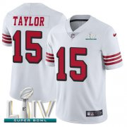 Wholesale Cheap Nike 49ers #15 Trent Taylor White Super Bowl LIV 2020 Rush Men's Stitched NFL Vapor Untouchable Limited Jersey