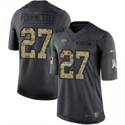 Wholesale Cheap Nike Jaguars #27 Leonard Fournette Black Youth Stitched NFL Limited 2016 Salute to Service Jersey