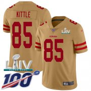 Wholesale Cheap Nike 49ers #85 George Kittle Gold Super Bowl LIV 2020 Men's Stitched NFL Limited Inverted Legend 100th Season Jersey