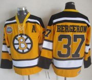 Wholesale Cheap Bruins #37 Patrice Bergeron Yellow Winter Classic CCM Throwback Stitched NHL Jersey