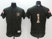 Wholesale Astros #1 Carlos Correa Green Flexbase Authentic Collection Salute to Service Stitched Baseball Jersey