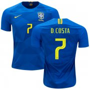 Wholesale Cheap Brazil #7 D.Costa Away Kid Soccer Country Jersey