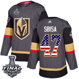 Wholesale Cheap Adidas Golden Knights #47 Luca Sbisa Grey Home Authentic USA Flag 2018 Stanley Cup Final Stitched NHL Jersey