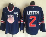 Wholesale Cheap Team USA #2 Brian Leetch Navy Blue 2014 Olympic Nike Throwback Stitched NHL Jersey