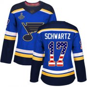 Wholesale Cheap Adidas Blues #17 Jaden Schwartz Blue Home Authentic USA Flag Stanley Cup Champions Women's Stitched NHL Jersey