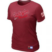 Wholesale Cheap Women's MLB Washington Nationals Red Nike Short Sleeve Practice T-Shirt