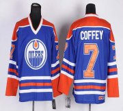Wholesale Cheap Oilers #7 Paul Coffey Light Blue CCM Throwback Stitched NHL Jersey