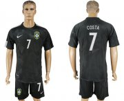 Wholesale Cheap Brazil #7 D.Costa Black Soccer Country Jersey
